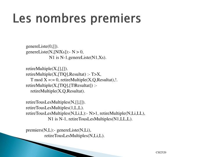 Les nombres premiers