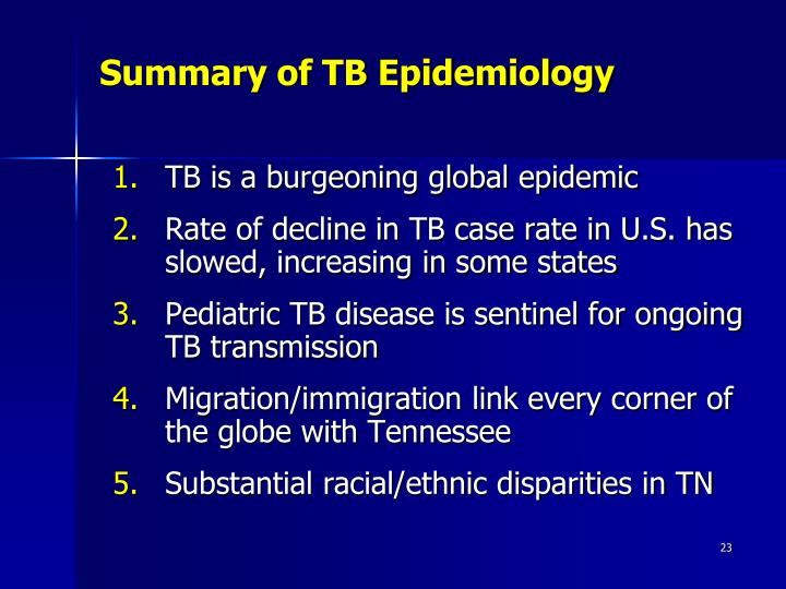Summary of TB Epidemiology