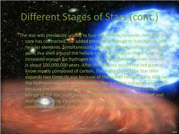 Different Stages of Stars (cont.)