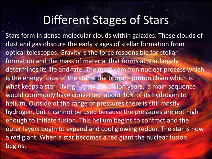 Different Stages of Stars