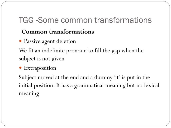 TGG -Some common transformations