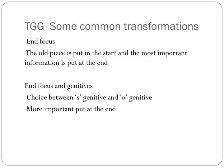 TGG- Some common transformations