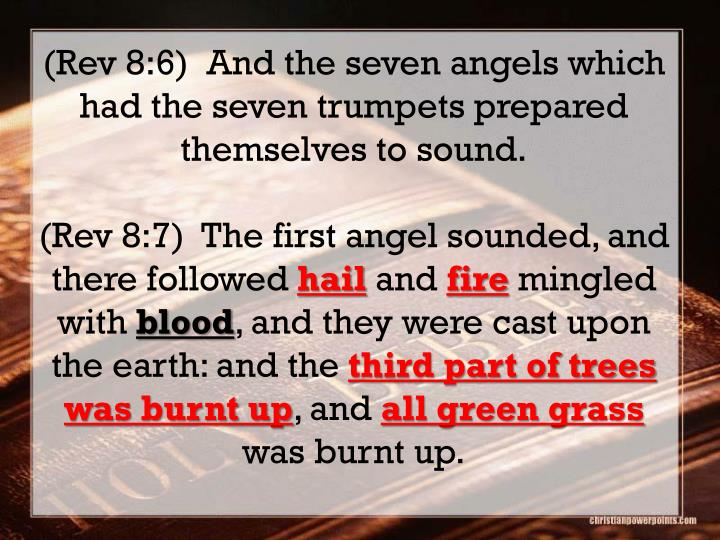 (Rev 8:6)  And the seven angels which had the seven trumpets prepared themselves to sound.