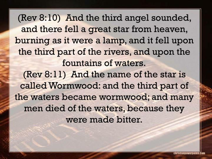 (Rev 8:10)  And the third angel sounded, and there fell a great star from heaven, burning as it were a lamp, and it fell upon the third part of the rivers, and upon the fountains of