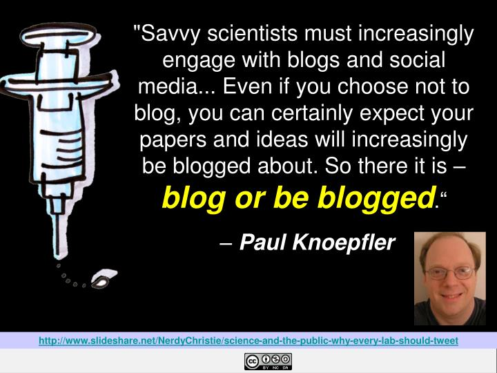 http://www.slideshare.net/NerdyChristie/science-and-the-public-why-every-lab-should-tweet