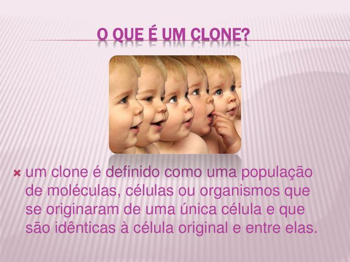 um clone é definido como uma população de moléculas, células ou organismos que se originaram de uma única célula e que são idênticas à célula original e entre elas.