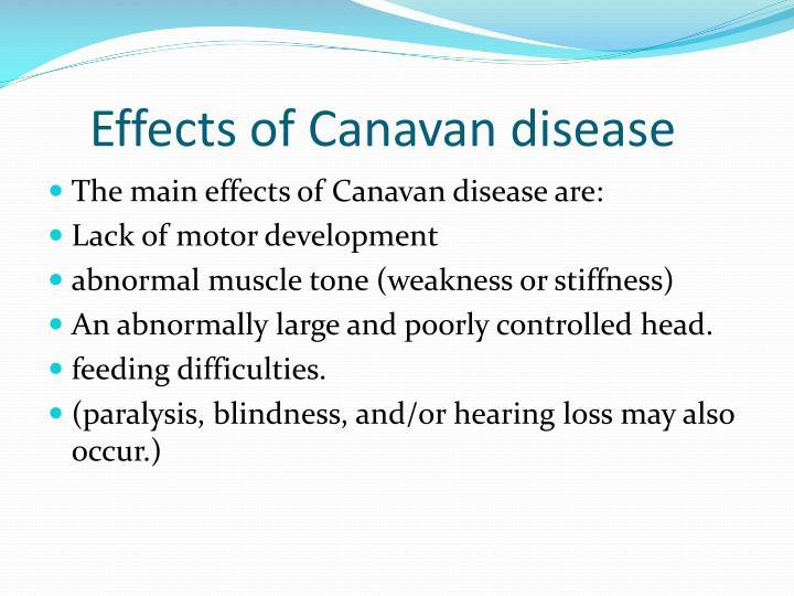 Effects of Canavan disease