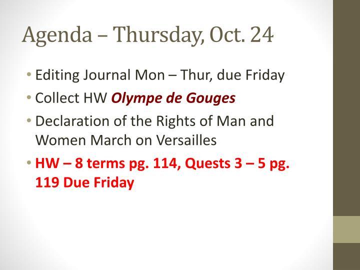 Agenda – Thursday, Oct. 24