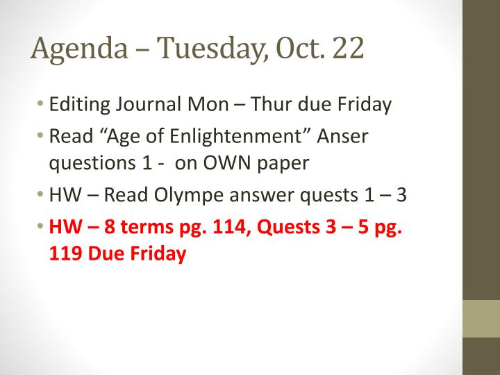 Agenda – Tuesday, Oct. 22