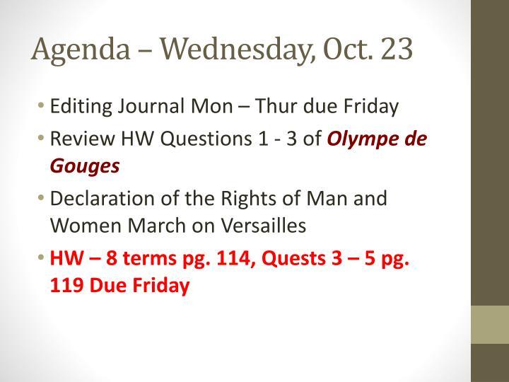 Agenda – Wednesday, Oct. 23