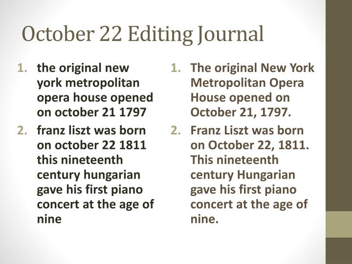 October 22 Editing Journal