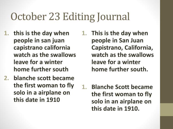 October 23 Editing Journal