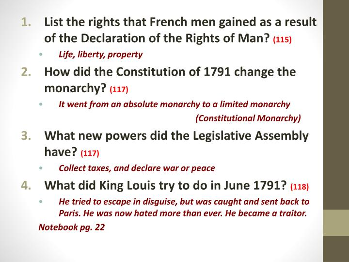 List the rights that French men gained as a result of the Declaration of the Rights of Man?
