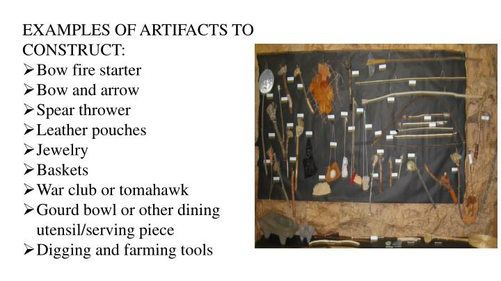 EXAMPLES OF ARTIFACTS TO CONSTRUCT: