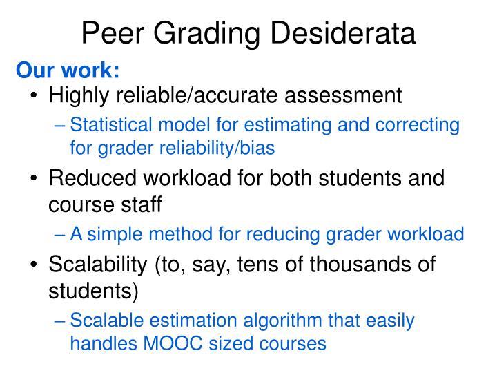 Peer Grading Desiderata