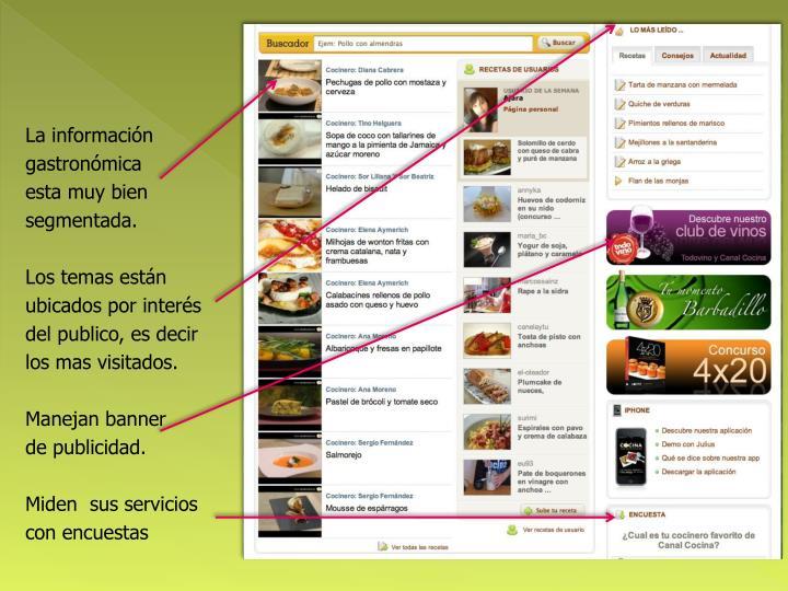 La información gastronómica