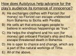 how does autolycus help advance for the play s audience its romance of innocence