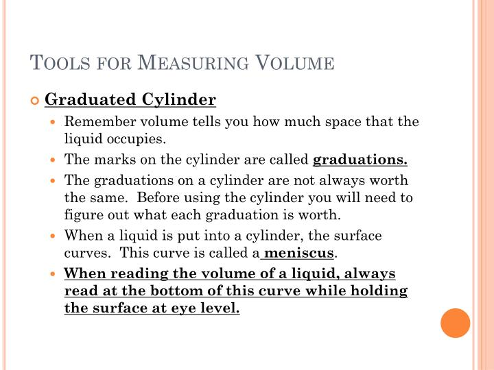 Tools for Measuring Volume