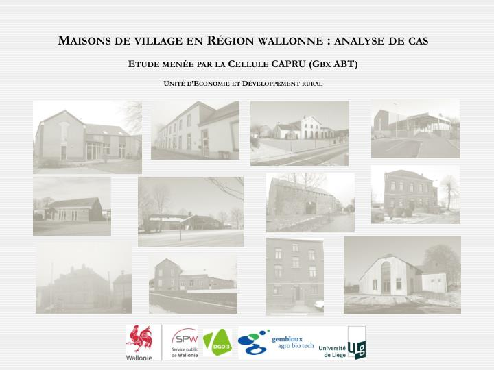 Maisons de village en Région wallonne : analyse de