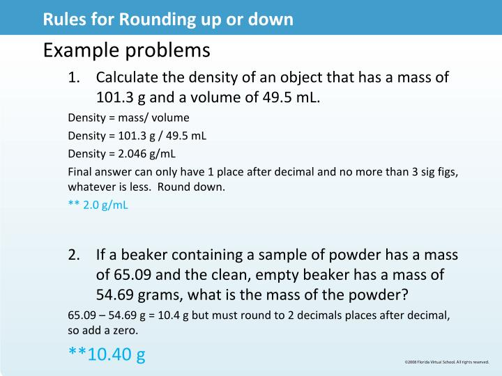 Rules for Rounding up or down