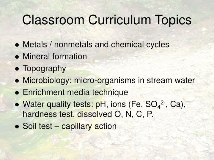 Classroom Curriculum Topics