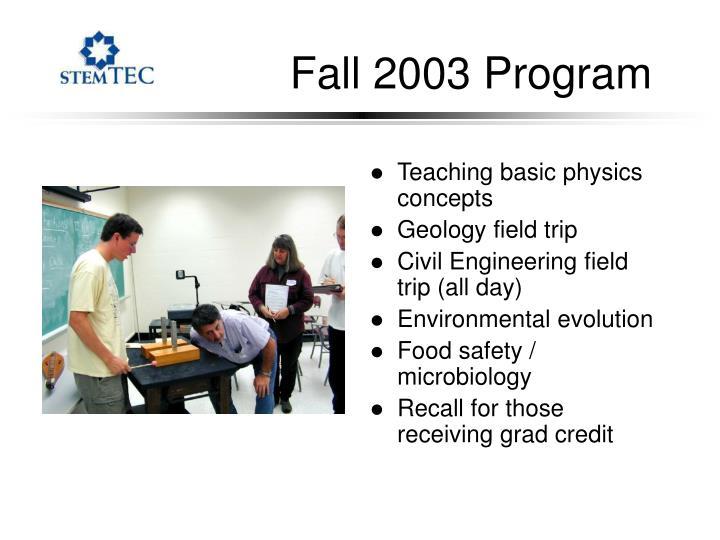 Fall 2003 Program