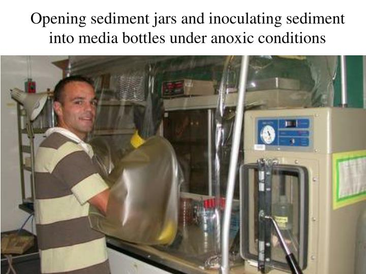 Opening sediment jars and inoculating sediment into media bottles under anoxic conditions