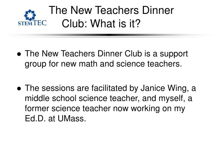 The New Teachers Dinner Club: What is it?