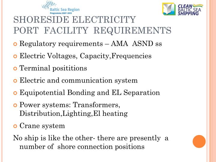 SHORESIDE ELECTRICITY