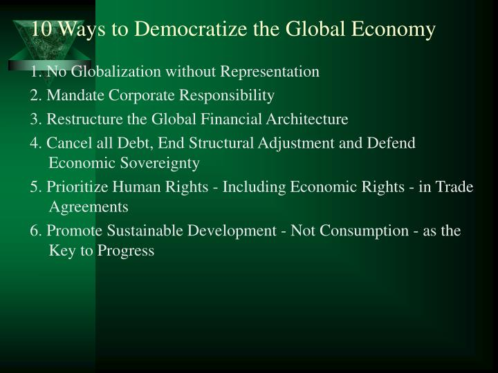 10 Ways to Democratize the Global Economy