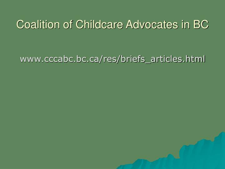 Coalition of Childcare Advocates in BC