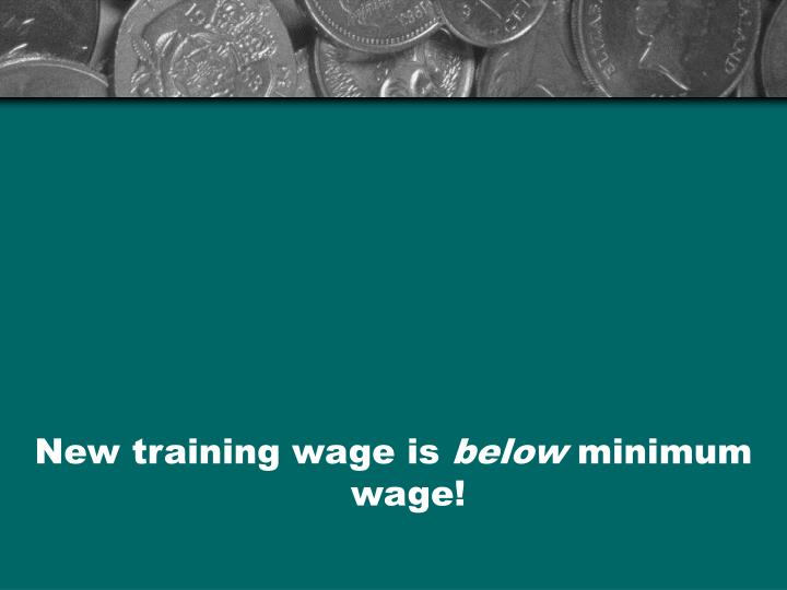 New training wage is