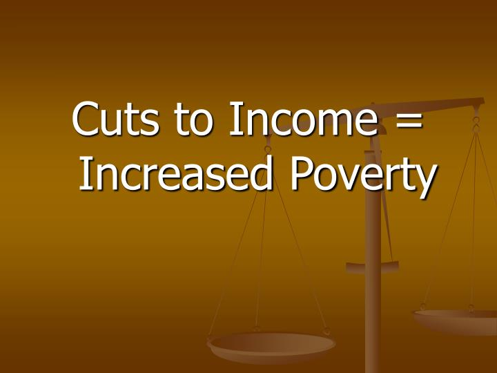 Cuts to Income = Increased Poverty