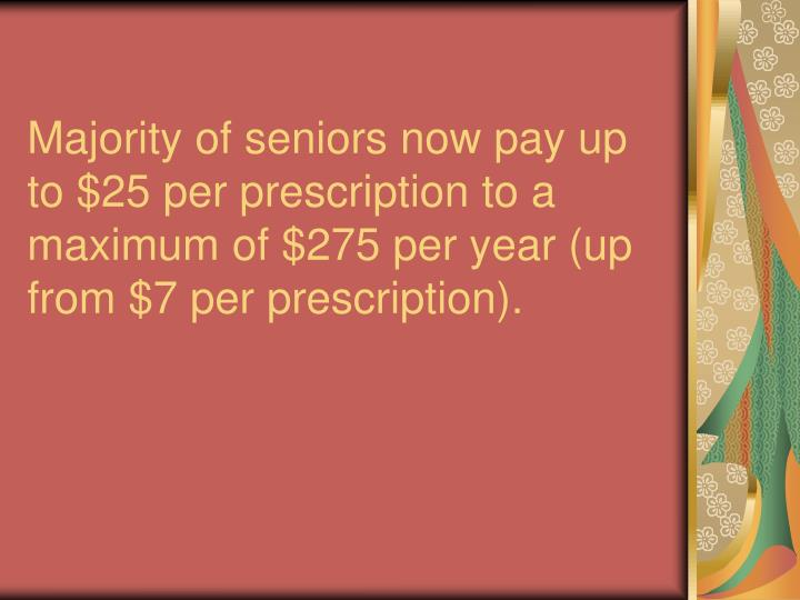 Majority of seniors now pay up to $25 per prescription to a maximum of $275 per year (up from $7 per prescription).