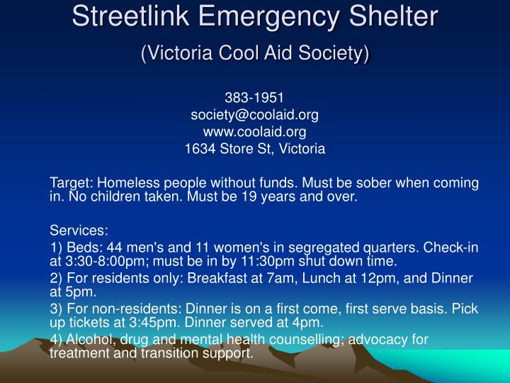 Streetlink Emergency Shelter