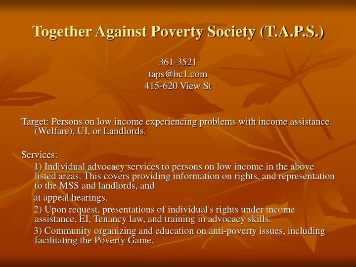 Together Against Poverty Society (T.A.P.S.)