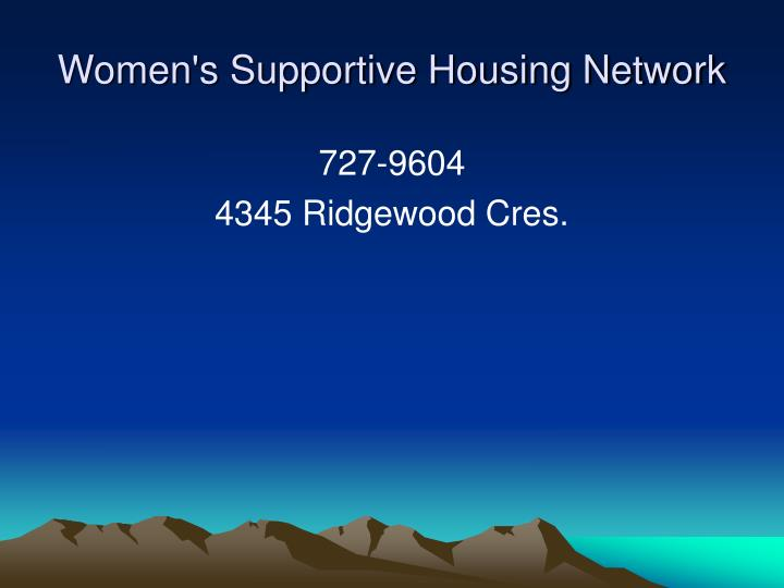 Women's Supportive Housing Network