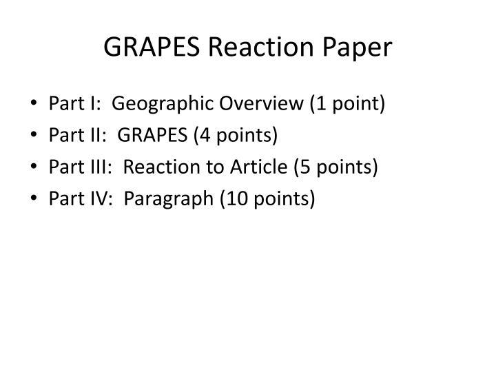 GRAPES Reaction Paper
