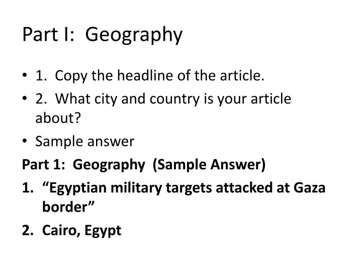Part I:  Geography