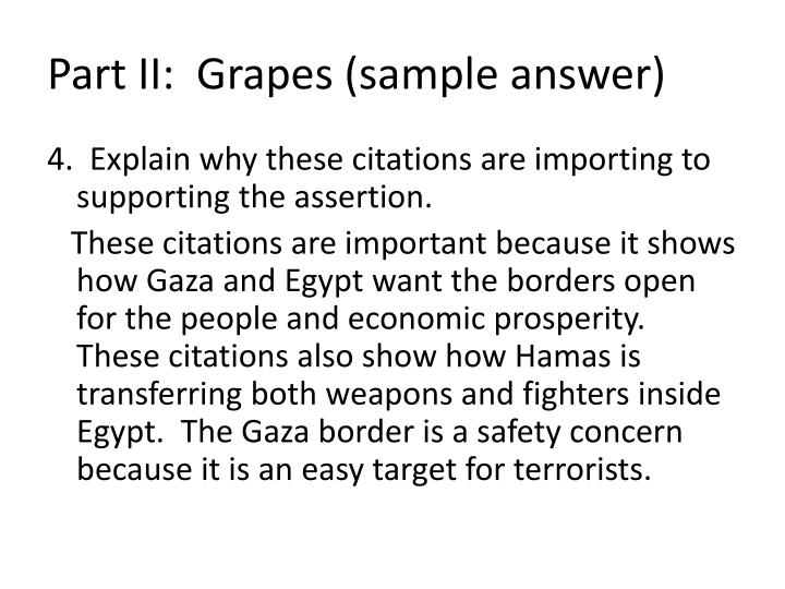 Part II:  Grapes (sample answer)