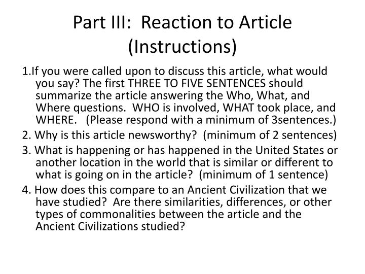 Part III:  Reaction to Article (Instructions)