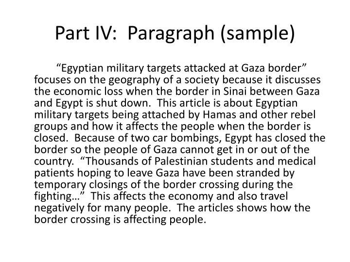 Part IV:  Paragraph (sample)