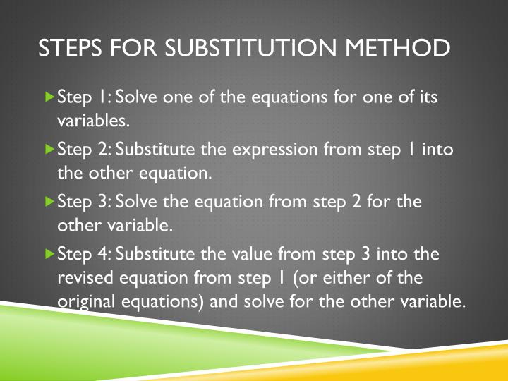 Steps for substitution method