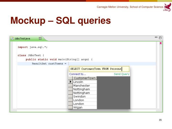 Mockup – SQL queries