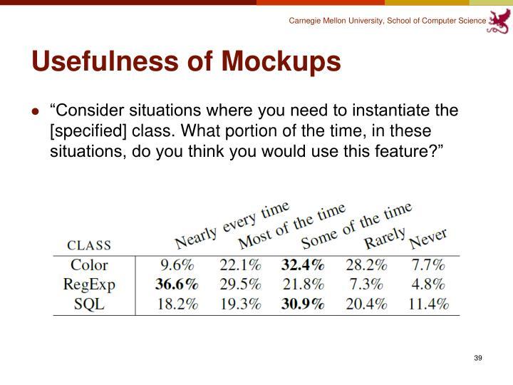 Usefulness of Mockups