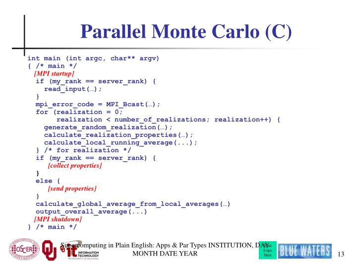 Parallel Monte Carlo (C)