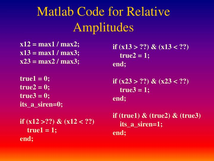 Matlab Code for Relative Amplitudes