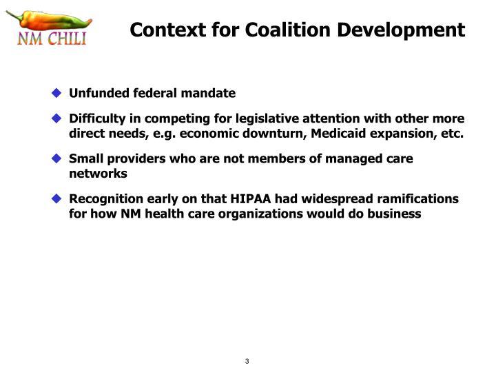Context for Coalition Development