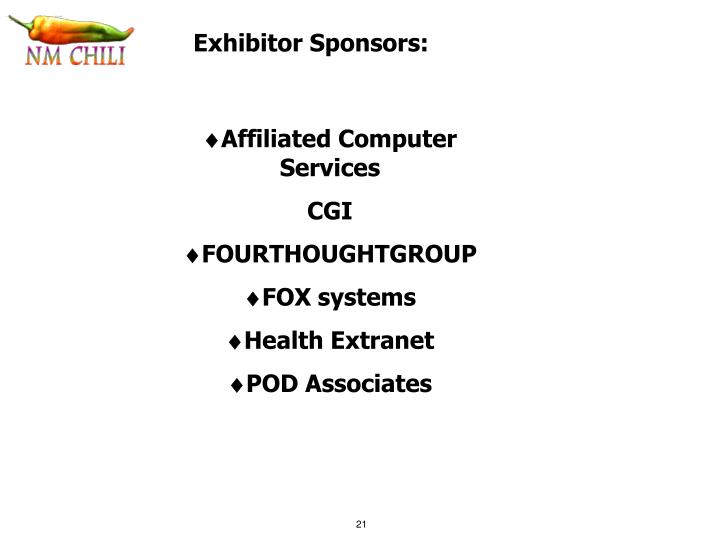Exhibitor Sponsors: