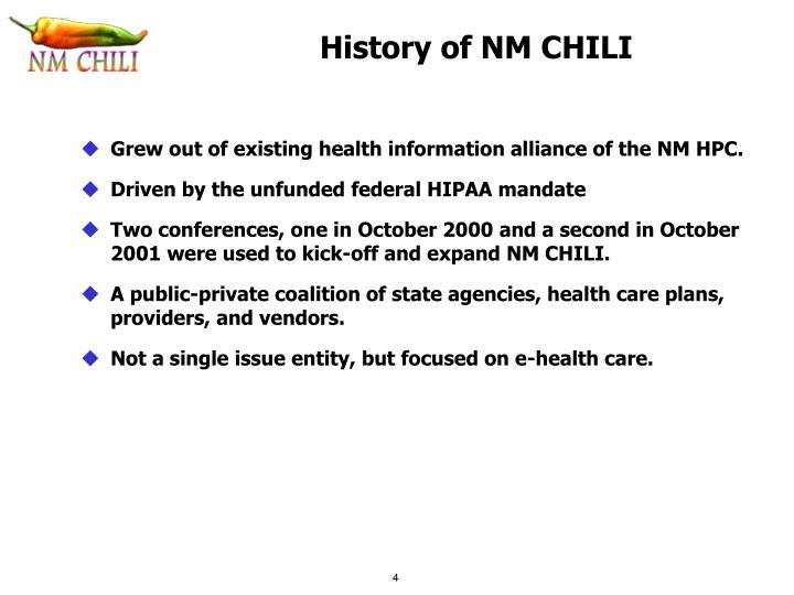 History of NM CHILI